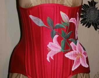 Red Satin,Long Line,Hand Painted Under-Bust CorsetlAll items  on discount till march