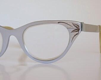 Tura Cat Eye Frames Vintage Light Blue or Silver Satin Finish Aluminum Silver & Black Etched Leaf Design Eyewear Eyeglasses Simple Elegant