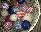 Primitive Rag Balls - Patriotic - 4th of July - Flag Day - Independence Day - set of 16
