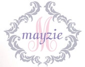"Personalized Vinyl Wall Decal, Shabby Chic Monogram With Name And Initial Wall Art, Grey And Pink, 21""Hx24 7/8""W, A18"