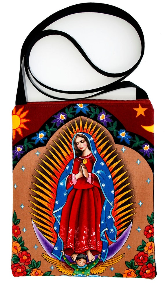Virgin of Guadalupe with Spikes Zipster, cross body bag, flat bag
