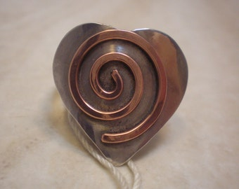 Sterling Silver Heart Ring with Copper Spiral Overlay, Size 10, Statement Ring, Large Sterling Heart