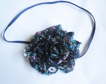 Navy Floral Baby Headband, Baby Headbands, Infant Headbands, Baby Girl Headbands, Baby Bows, Infant Bows, Newborn Headband