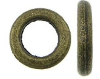 50pc 8mm antique bronze metal ring-871