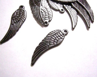 20pc gunmetal finish 29x9mm metal wing pendants- 6220