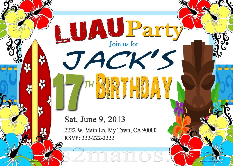 luau invitations diy custom printable aloha party print at