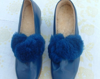 35 size Hungarian shoes never ware leather wool furs circa 1960's