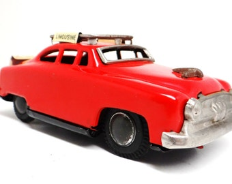 Vintage tin toy car, SSS Japan, airport limousine, airport taxi,1950s