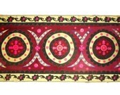 Antique 1910s -1920s Fully Hand Embroidered Tashkent Suzani / Carpet (Burgundy, Mustard, Purple, Magenta)