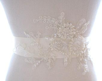 Lovely Beaded Lace Bridal Sash, wedding belt, wedding sash