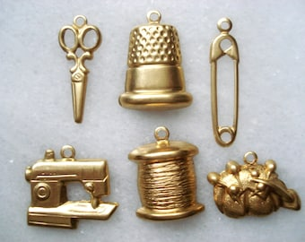 SALE - Brass Sewing Charms - 12 Sewing Machine Charms - Brass Scissors Charm - Pin Cushion Charms - Buy One Get One - Pin Charms