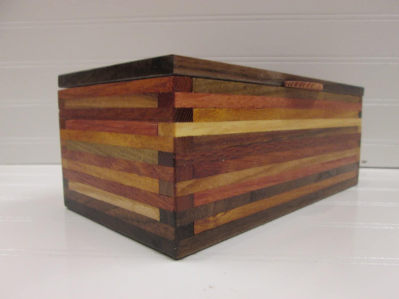 Wooden Box Desk Organizer Wood Box Scrap Wood Box Wood