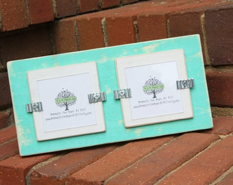 """Picture Frame - Distressed Wood - Holds 2 - 3""""x3"""" Photos - Seafoam Green & White"""