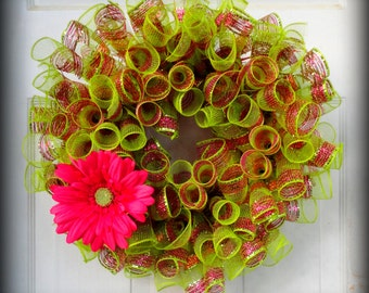One READY TO SHIP!!! Sprial Deco Mesh Wreath - Green Pink and Orange - Spring Wreath - Summer Wreath - Door Decoration - Burlap Wreath