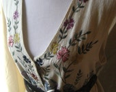 Folk Vest with Embroidered Flowers and tie Back