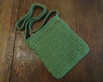 Crochet Cross Body Bag Pattern : Crochet Crossbody Bag Purse Kiwi Gr een Lined Zipper Pockets ...