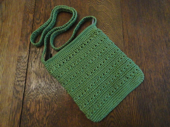 Crochet Crossbody Bag Purse Kiwi Green by kathyscrochetcloset