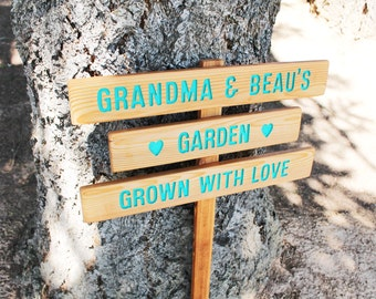 Custom Garden Sign, 3 small planks on 1 stake, Personalized Garden Sign, grown with love
