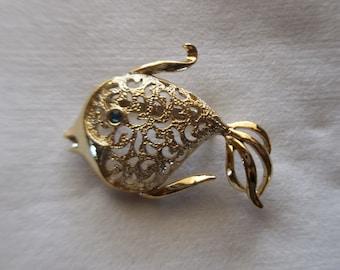 Goldtone Filigree Fish Brooch