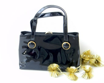 Vintage Black Pattern Lewis Crown Handbag. 1950s Mad Men Fashion. Black Gold. Structured Purse. Girlfriend gift
