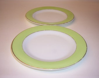 Pyrex plates Vintage Pyrex bread plates in Lime Green and gold set of two