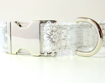 Wedding Dog Collar in Glistening Silver and Frosty White
