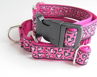 Valentine Dog Collar Leopard Hearts  - martingale or buckle