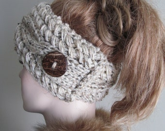 Knitted Cabled Headbands with Button Earwarmers Fall Winter Accessories Headcovers Oatmeal Grey Womens Girls Headwraps