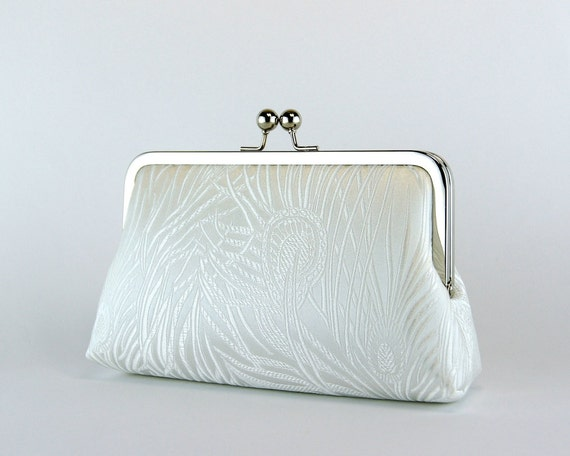 EllenVintage Peacock off White Clutch with Silk lining (choose your color) , Bridal clutch, Wedding clutch, Bridesmaid clutch, Evening bag