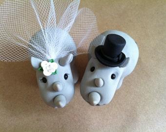 Rhino Wedding Cake Topper Handmade