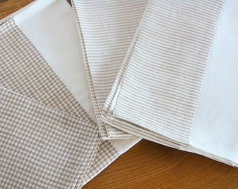 Linen Tea Towel / Hand Towel / Dish Cloth or a Guest Towel / Striped / Chequered