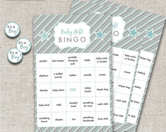 "INSTANT DOWNLOAD Baby Gift Bingo PDFs - Cards and 3/4"" Circles"