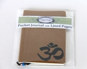 Ready to Ship Yoga Journal Mini Notebook Hand Stamped OM Sketchbook Writing Journal Gift