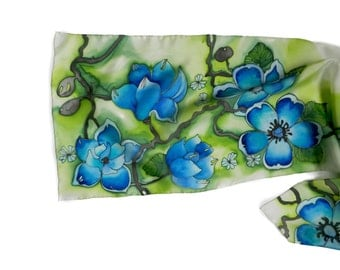 Emerald green , chartreuse and turquoise  colored silk hand painted scarf. Hand painted silk flowers scarf.  Made to order.