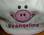Personalized Pig Baby Bib, your color choice FREE SHIPPING