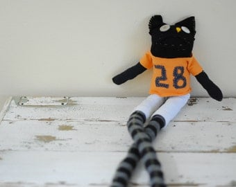 San Francsico Giants Baseball, Buster Posey, Unique Soft Toy, Sock Animal, Hand Stitched, Made from Reclaimed Fabrics, OOAK