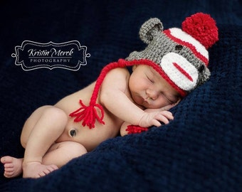 Sock Monkey Hat - Crochet Sock Monkey - Newborn Hat