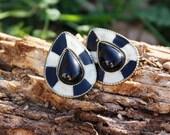 Black and White Teardrop Clip On Earrings