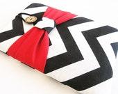 Ipad mini case, Ipad mini cover, Ipad mini sleeve, Ipad cover, iPad case-Chevron with Red Bow.