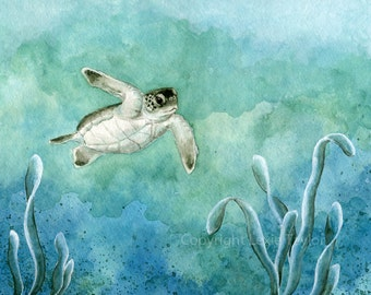 Green sea turtle hatchling (Chelonia mydas) watercolor giclee print