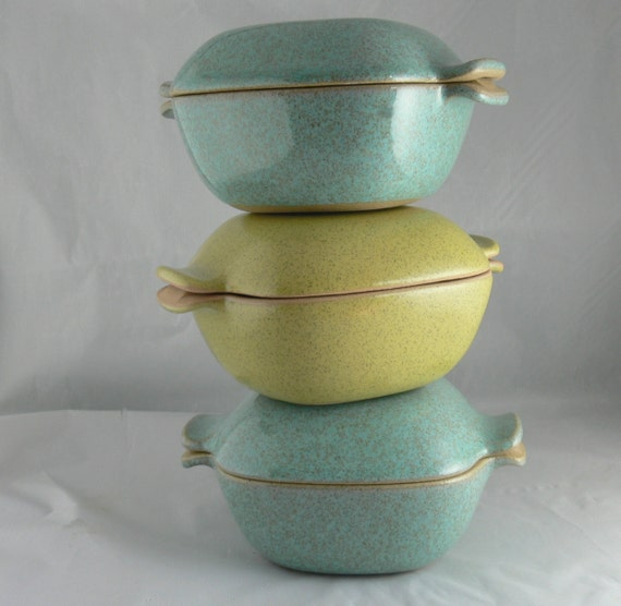 3 Vintage Mcm Glidden Pottery Covered Casserole 167