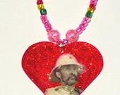 Rastafari Necklace with Qademawi Haile Selassie Heart Pendant
