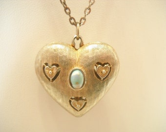 Vintage HEART PENDANT NECKLACE, Identical Front and Back, Faux Turquoise Center (4213)