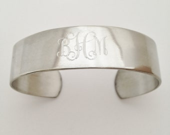 Christmas  Gift for Girls- Monogram Cuff Bracelet in Pewter - Personalized for Free