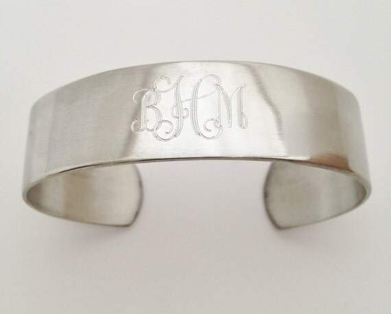 Monogram Cuff Bracelet in Pewter - Personalized for Free