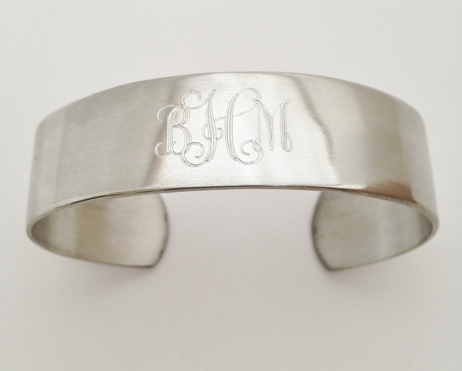 monogram cuff bracelet in pewter personalized for free