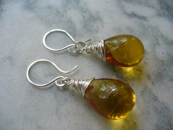 Bold and Gold Color Puffy Teardrop Beaded Earrings - Wire Wrapped Dangle Earrings