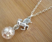 Unicorn Fantasy Pink Crackle Glass Marble Necklace