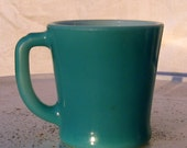 Vintage Fire King Turquoise Blue D Handle Mug