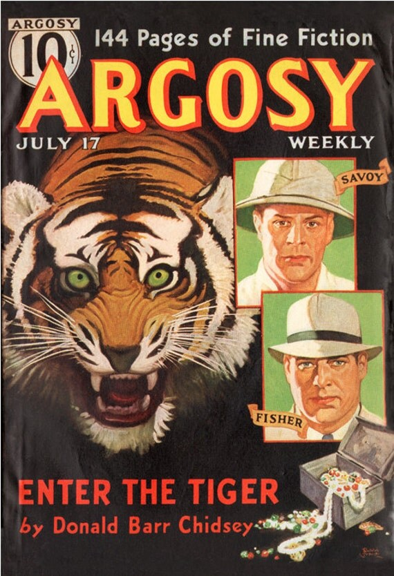 IndelibleInkWorkshop on Etsy Pulp Argosy Poster Enter the Tiger